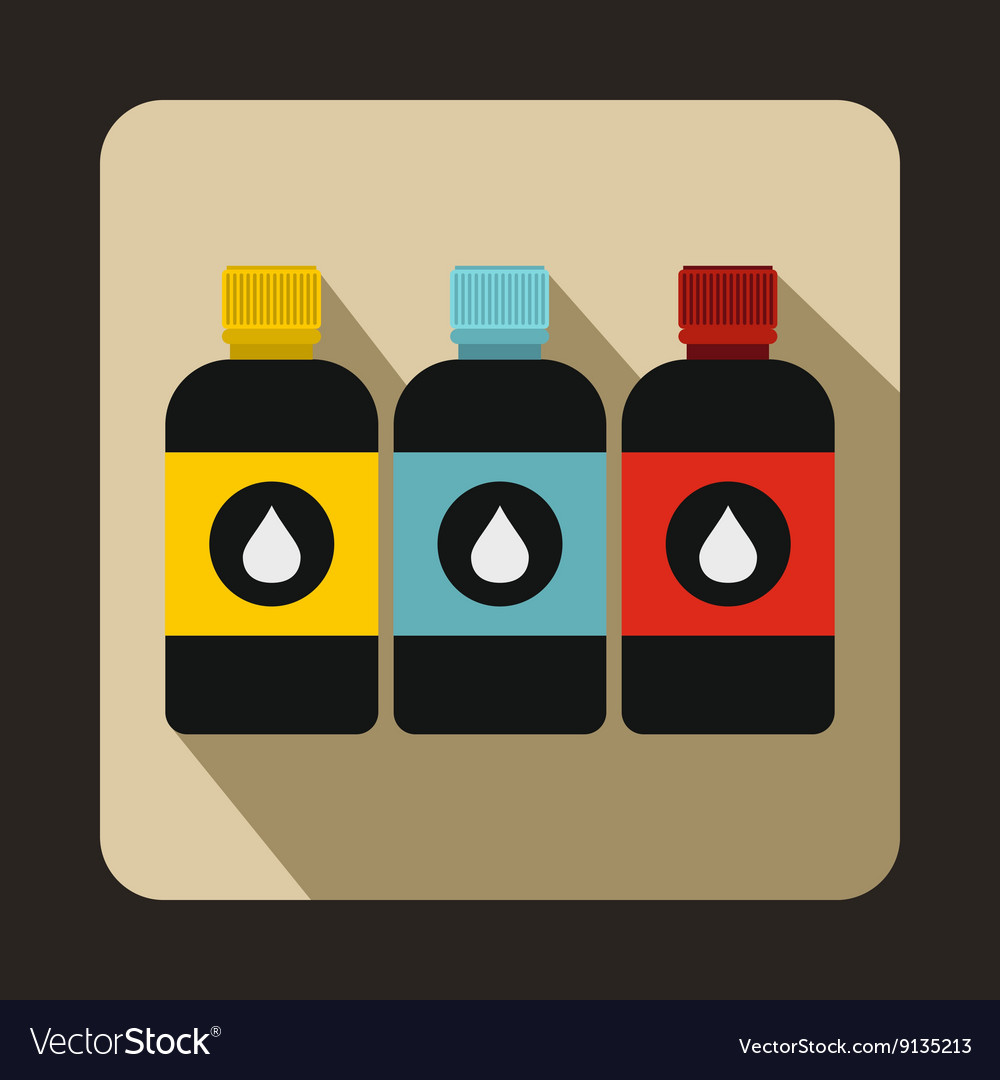 Printer ink bottles icon flat style vector