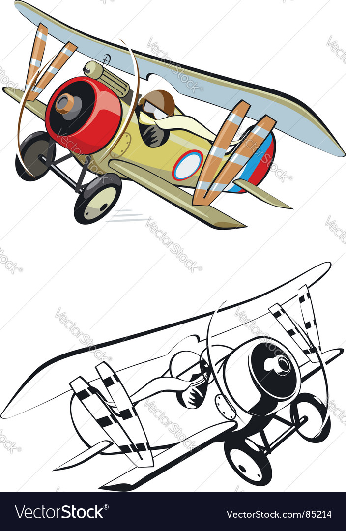 Cartoon biplane vector