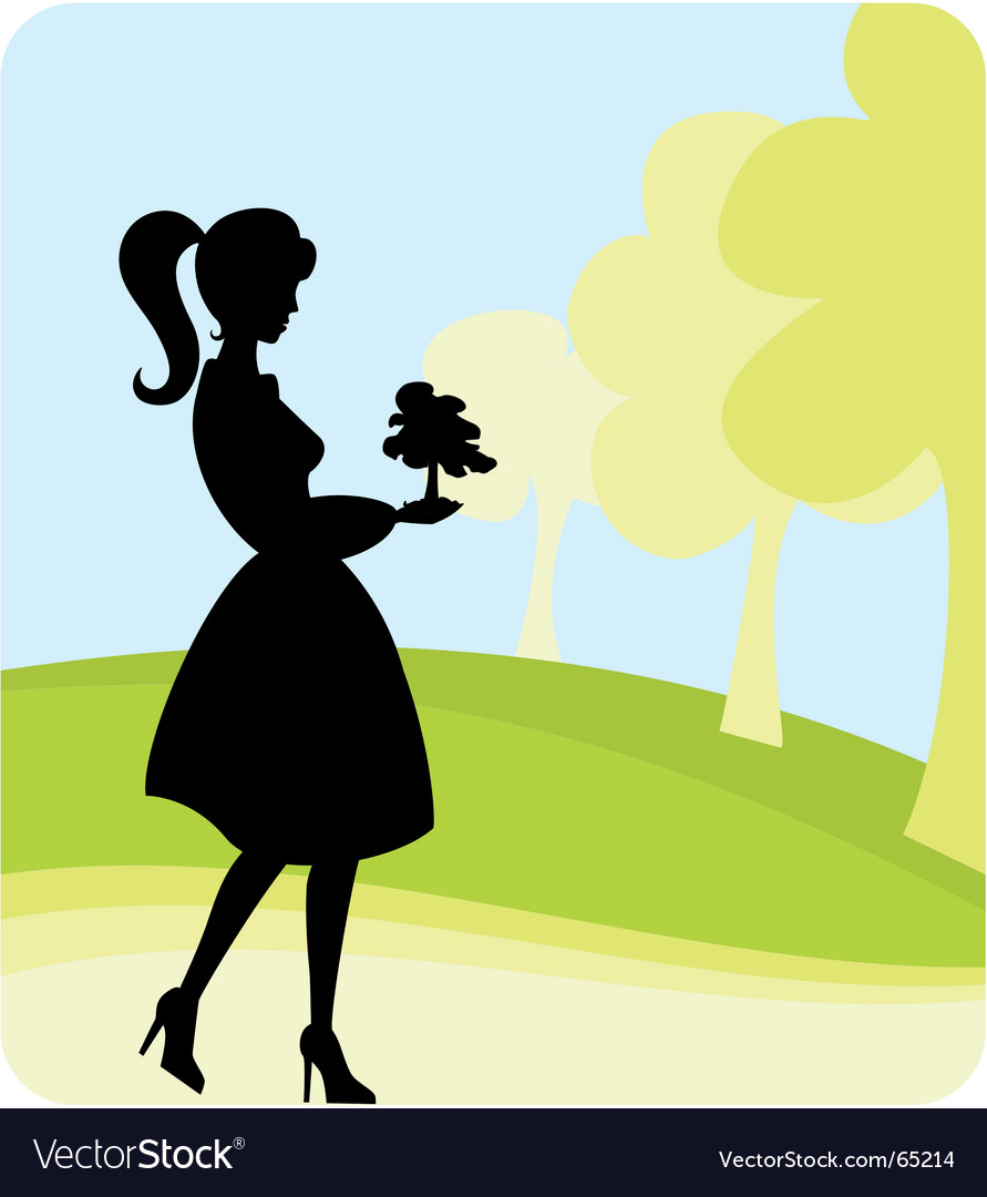 Girl planting tree vector