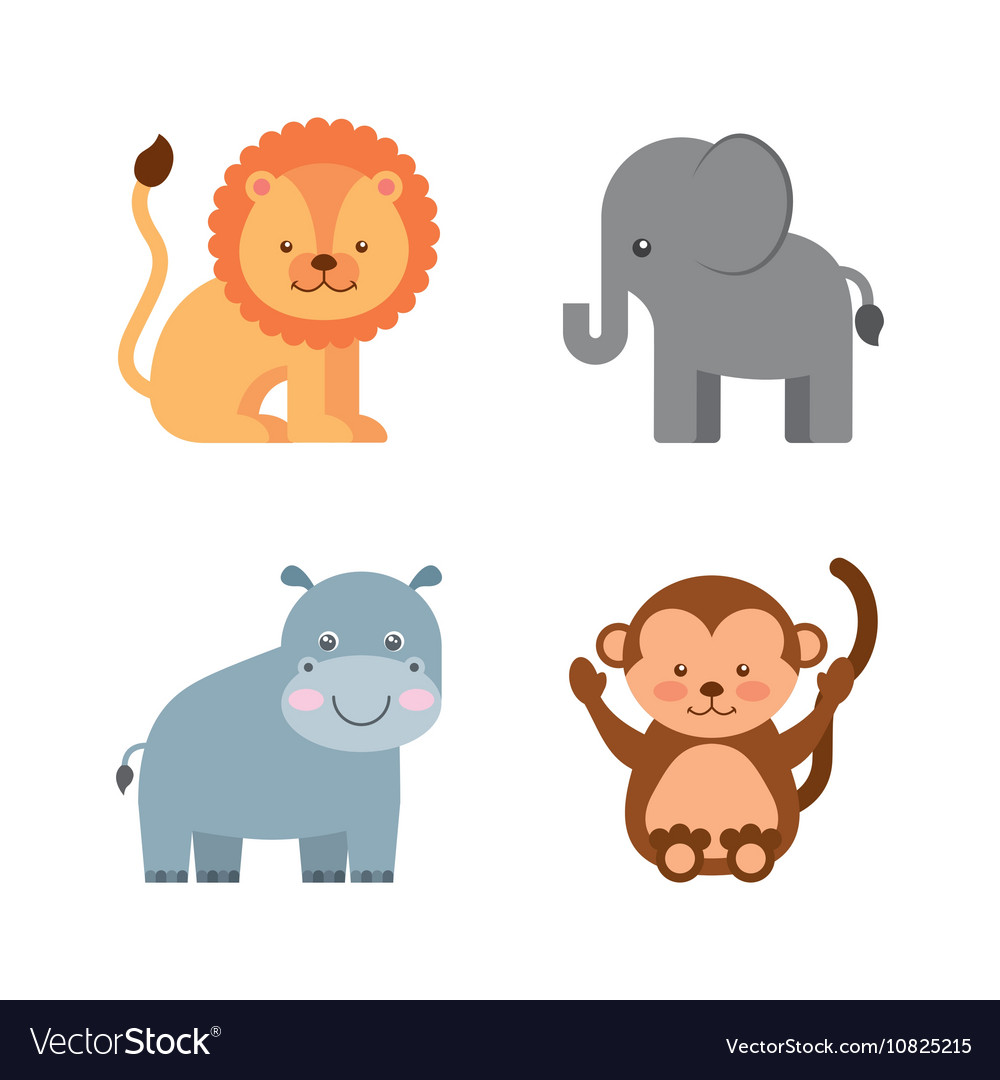 Group animal cute icon vector
