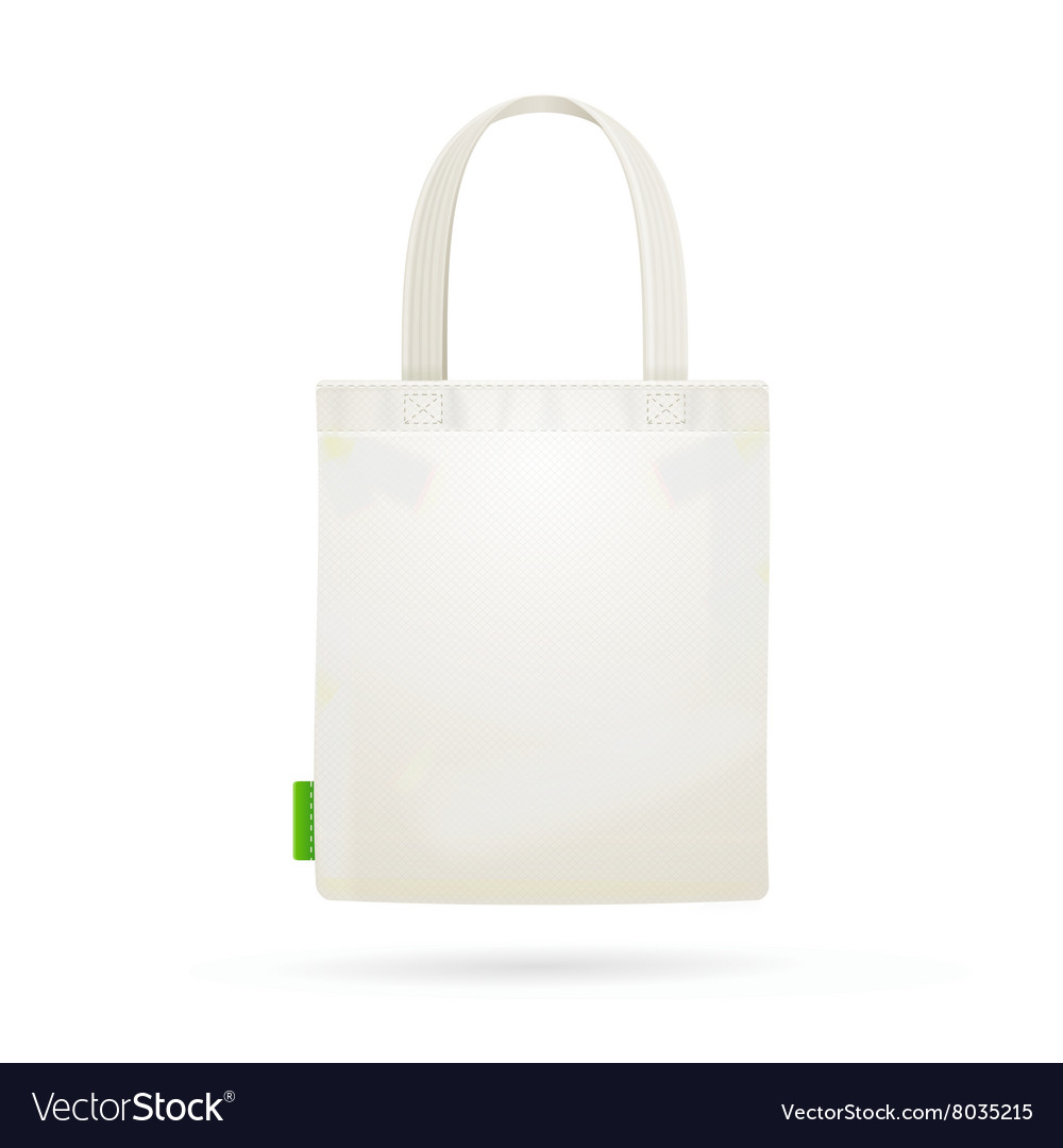 White fabric cloth bag tote vector
