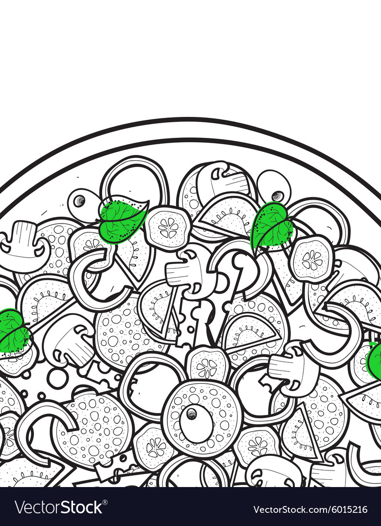 Design background doodle of pizza with ingredients vector