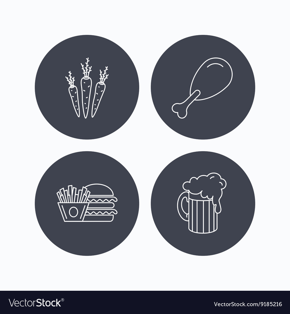 Hamburger beer and chicken leg icons vector