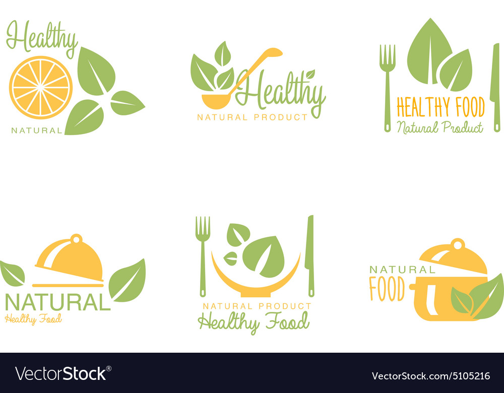 Set of organic and natural food labels vector