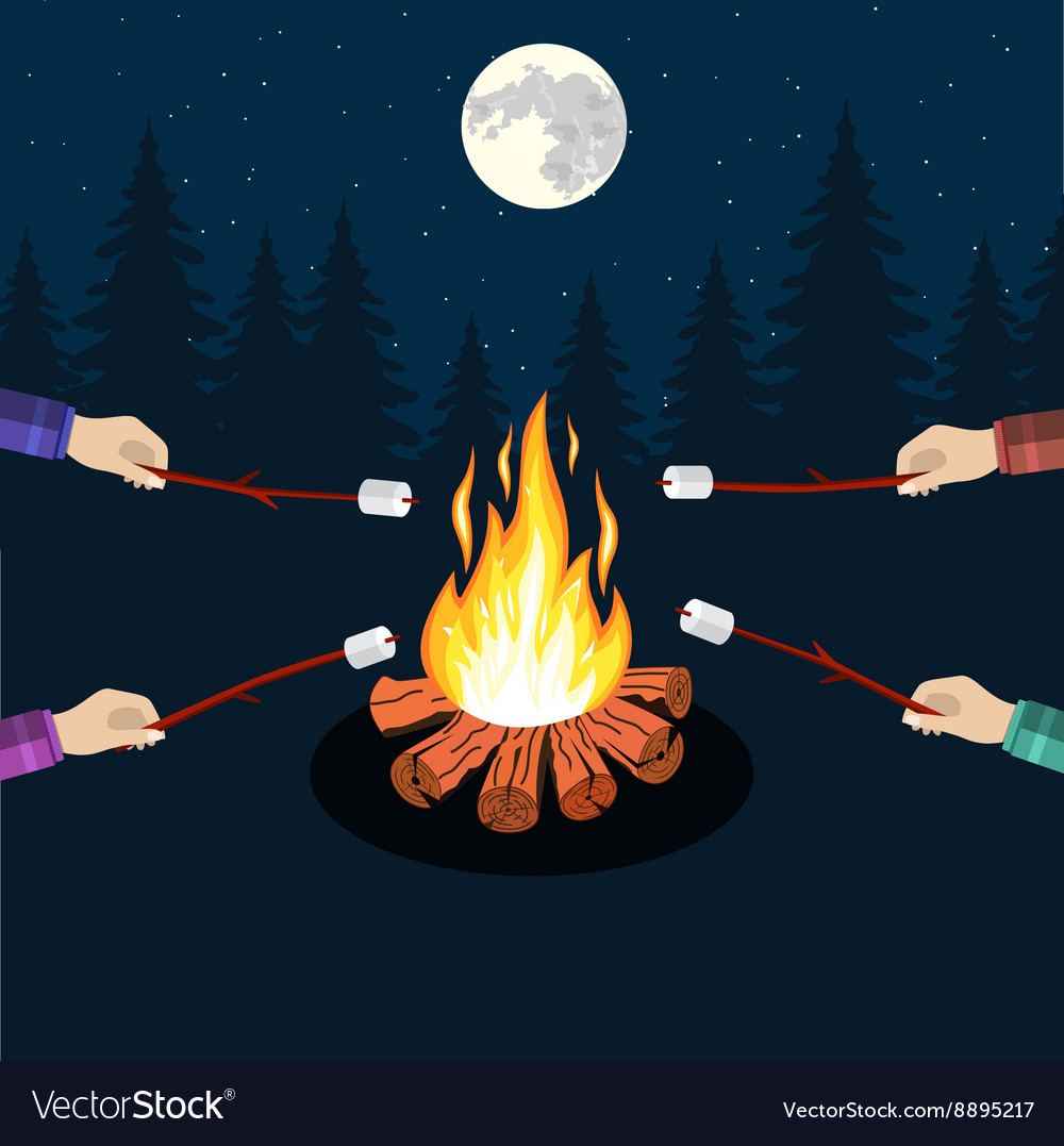 Bonfire with marshmallow vector