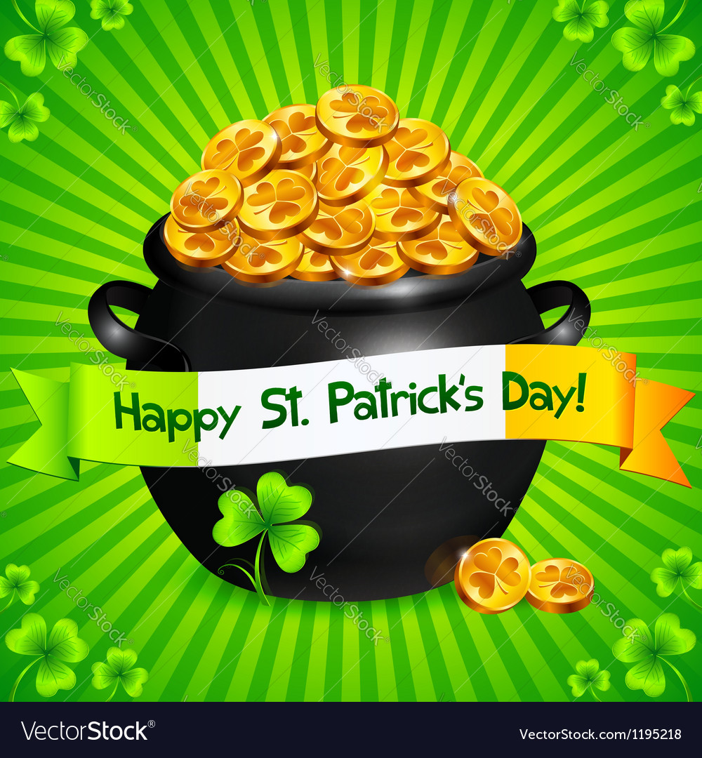 Black pot of leprechauns gold with lucky clovers vector