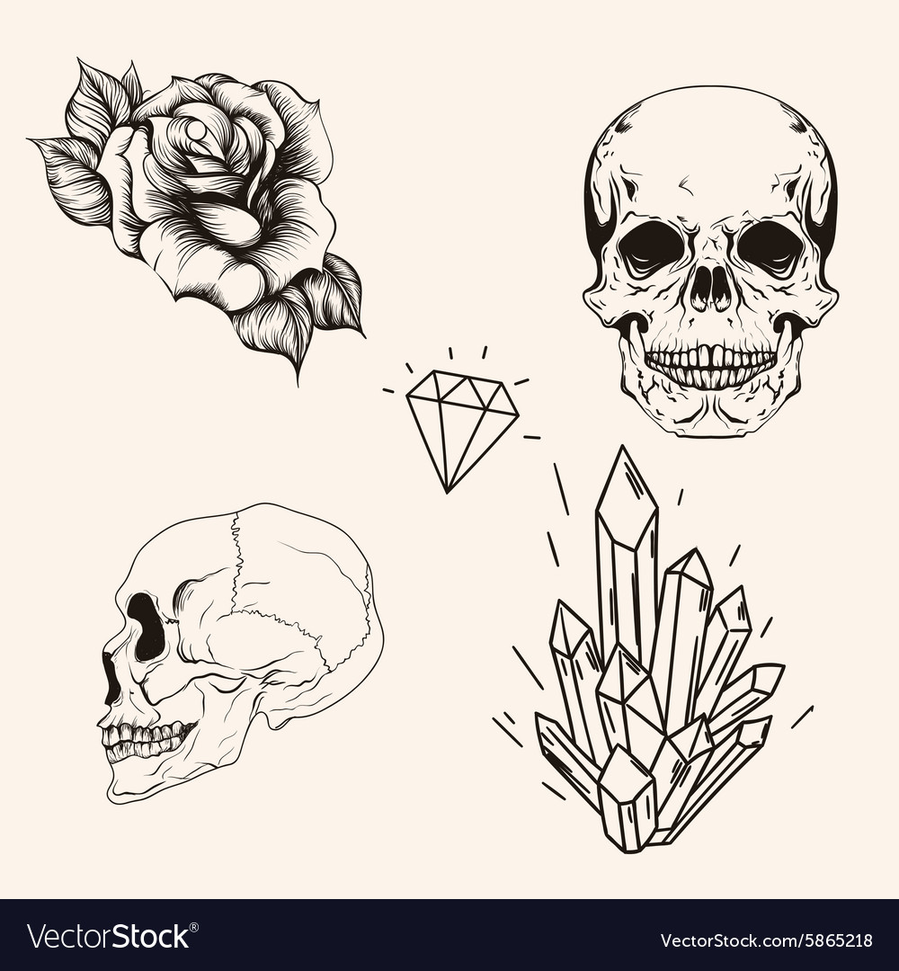 Hand drawn set sketch scull tattoo line art vector