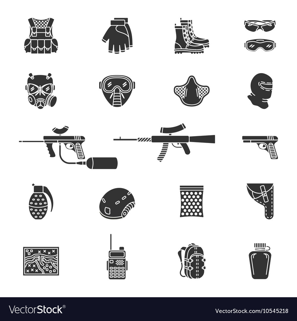 Silhouette paintball or airsoft icon set vector