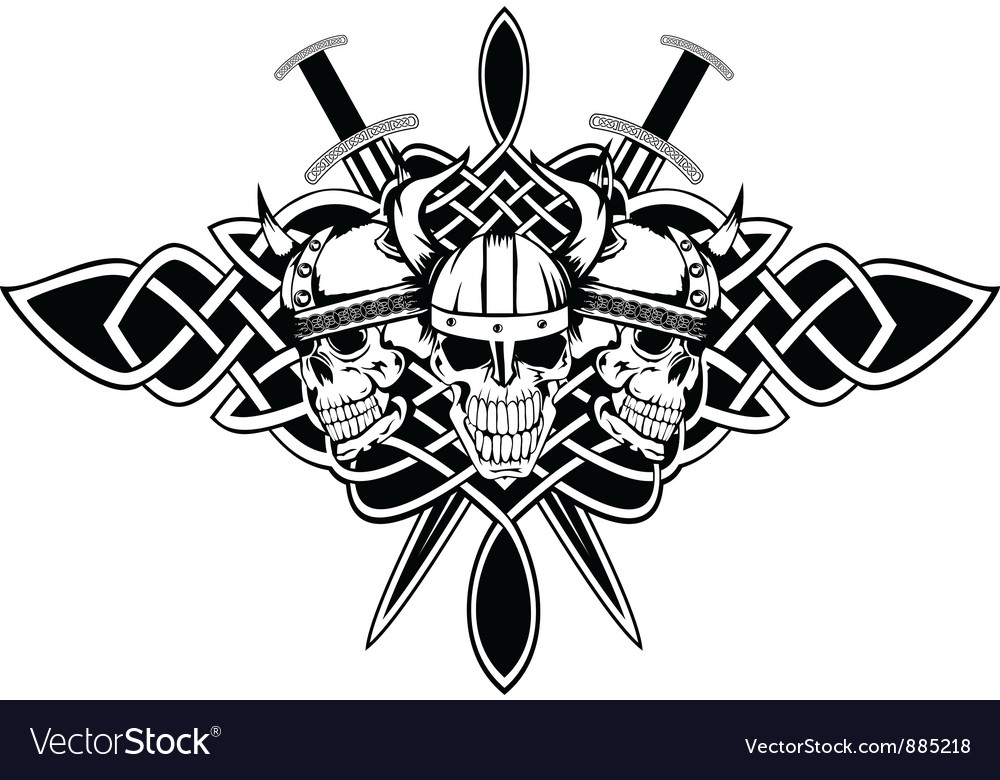 Three skulls vector