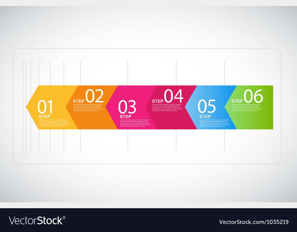 Six steps arrows for presentations vector
