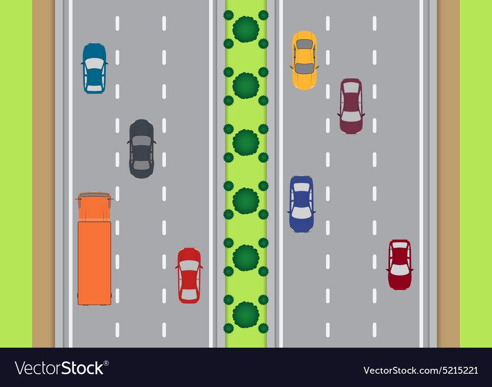 Highway traffic view from top vector
