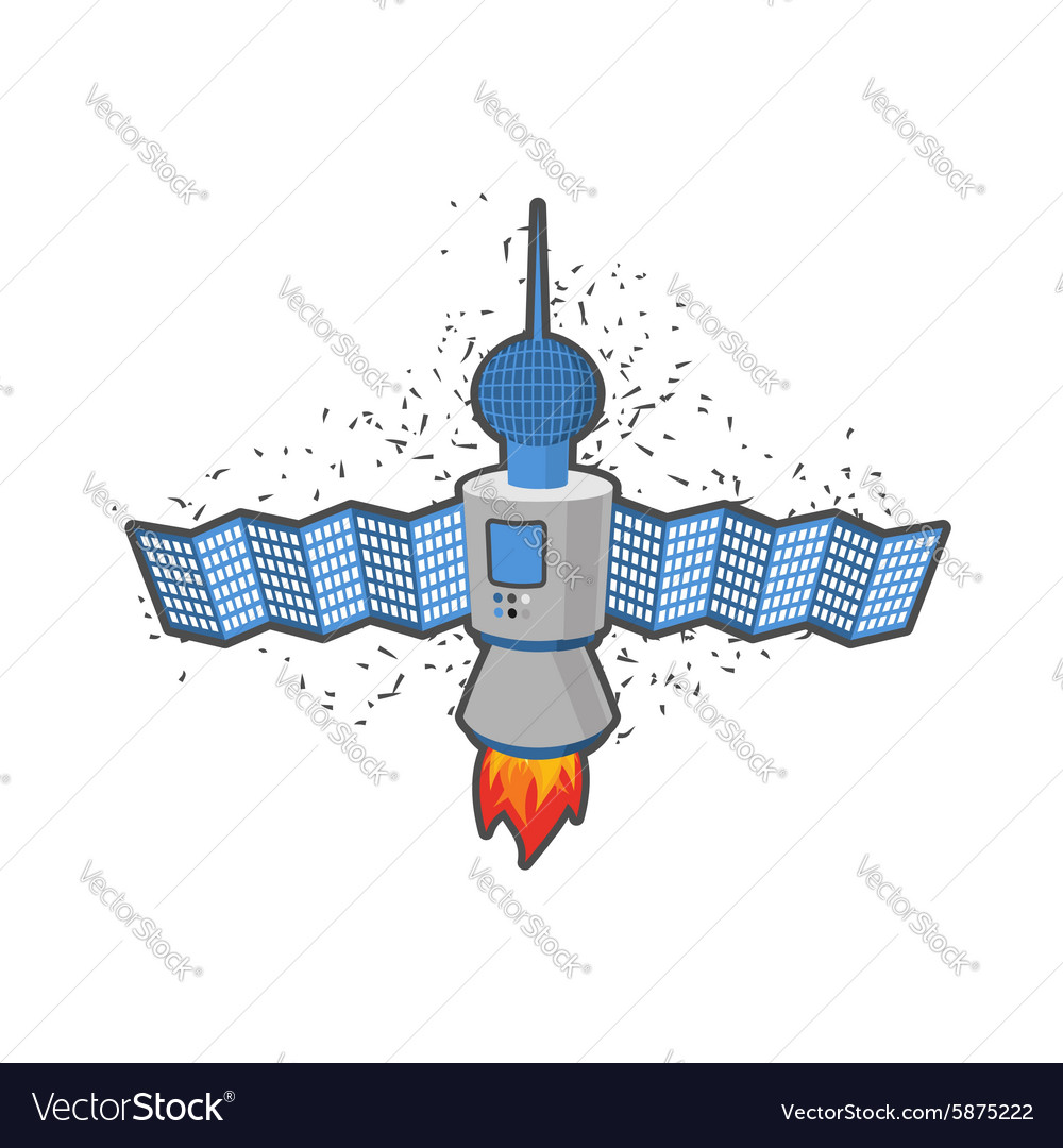 Satellite in space on a white background vector