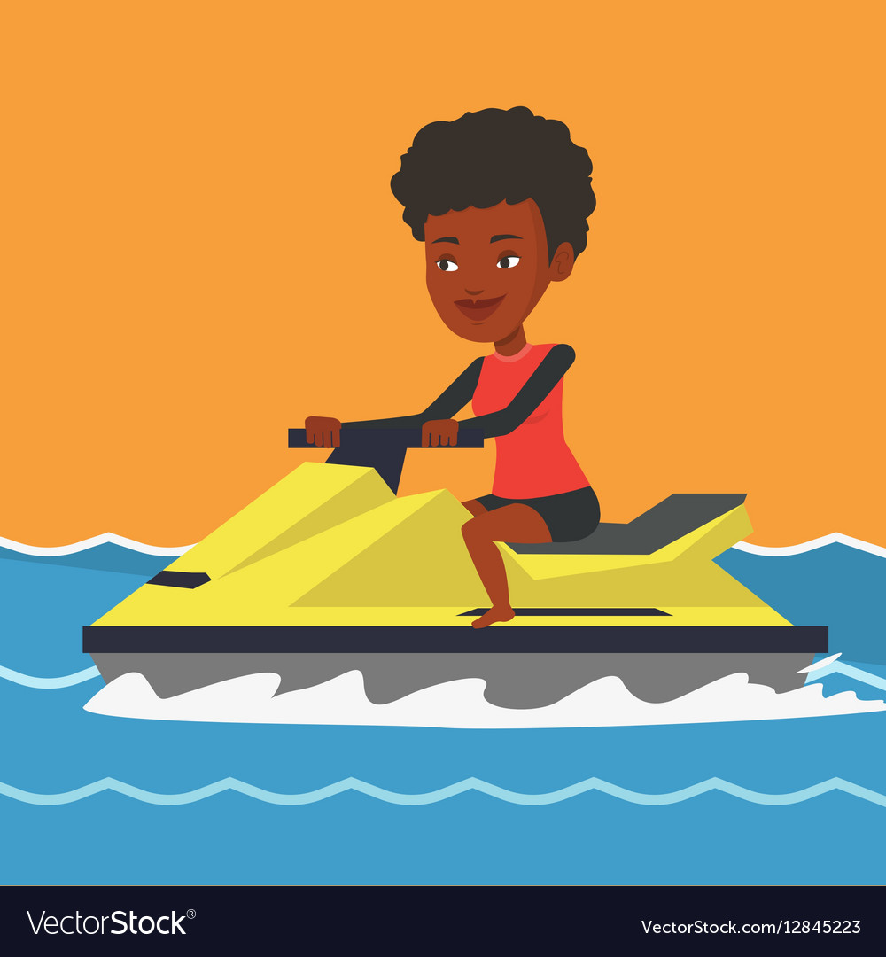 African woman training on jet ski in the sea vector