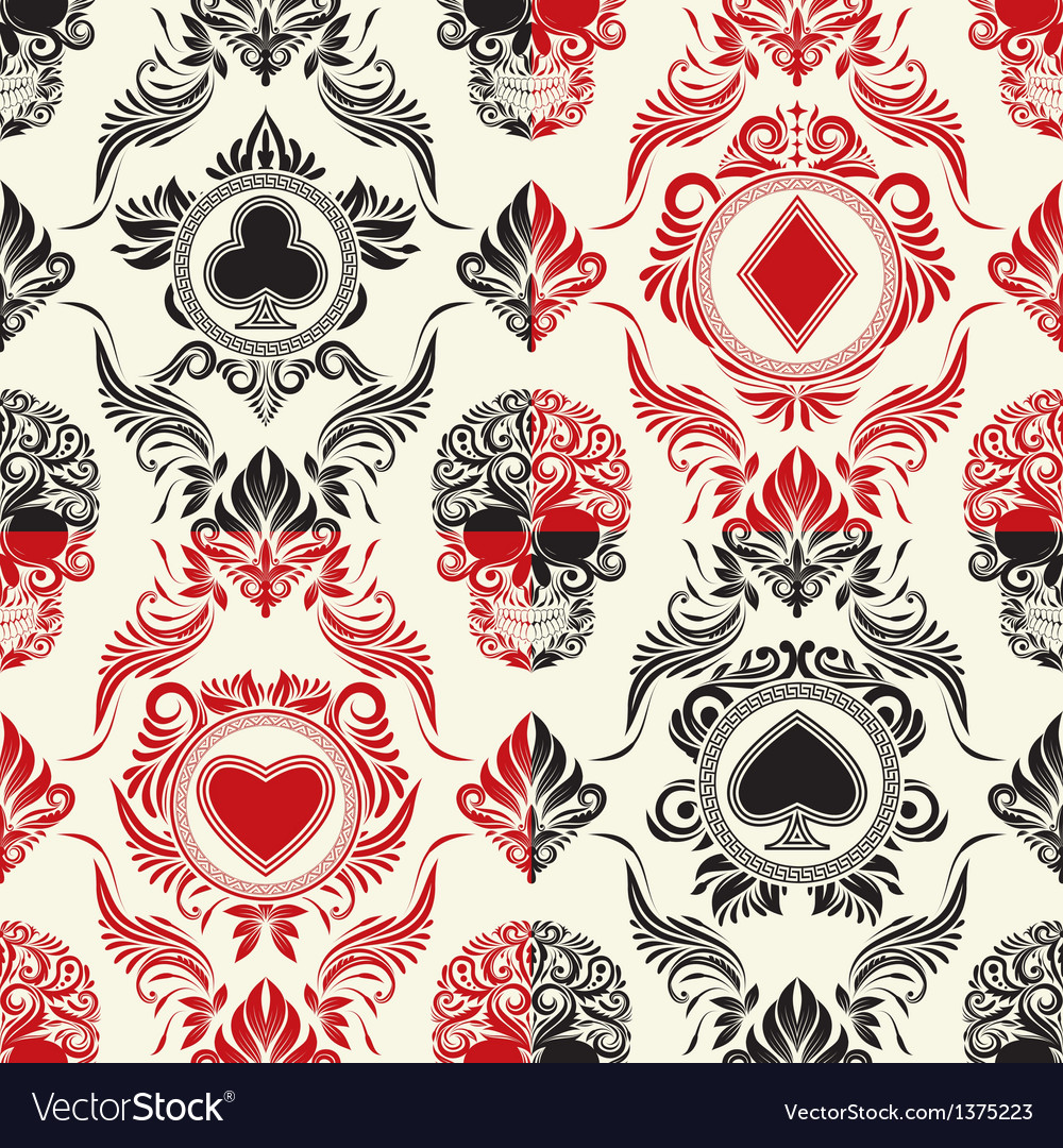 Playing card pattern set vector