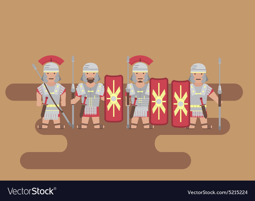 Roman legion soldier flat graphic vector