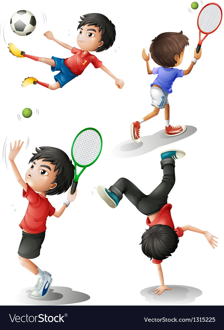 Four boys playing different sports vector