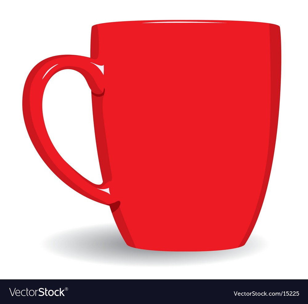 Red mug on white background vector