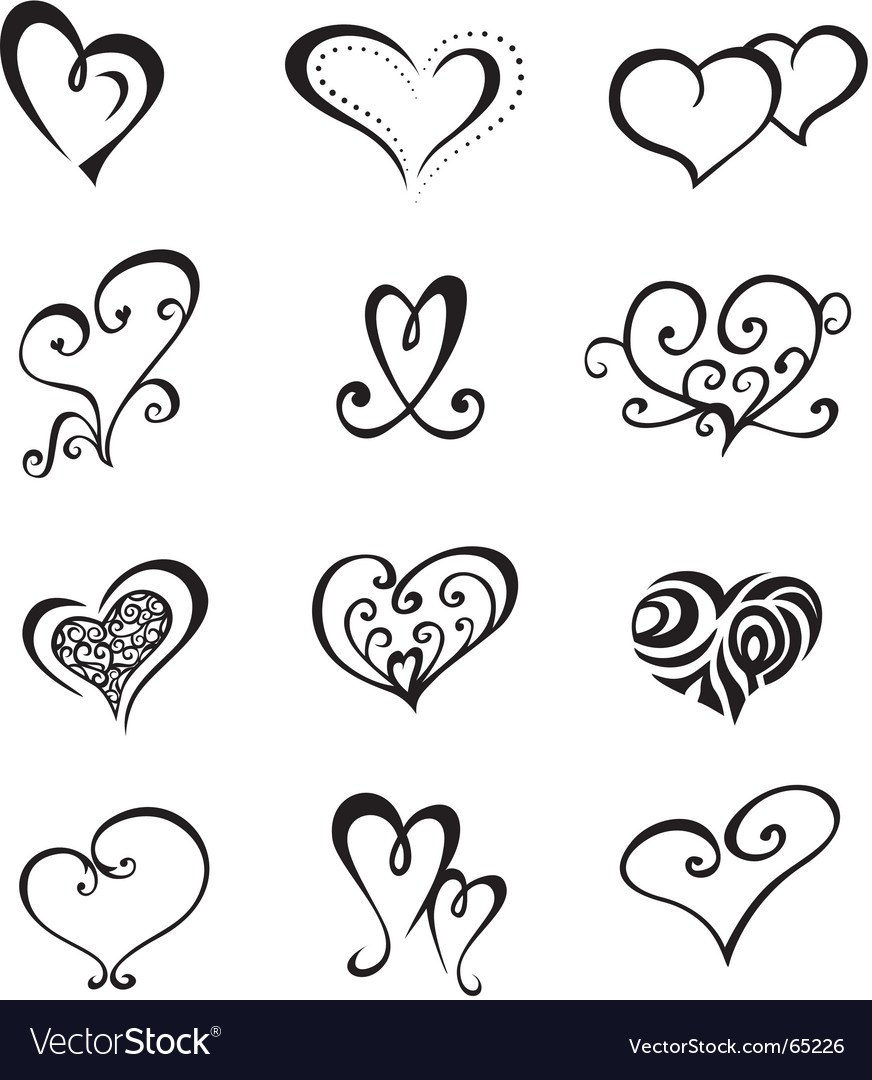 Hearts tattoo set vector