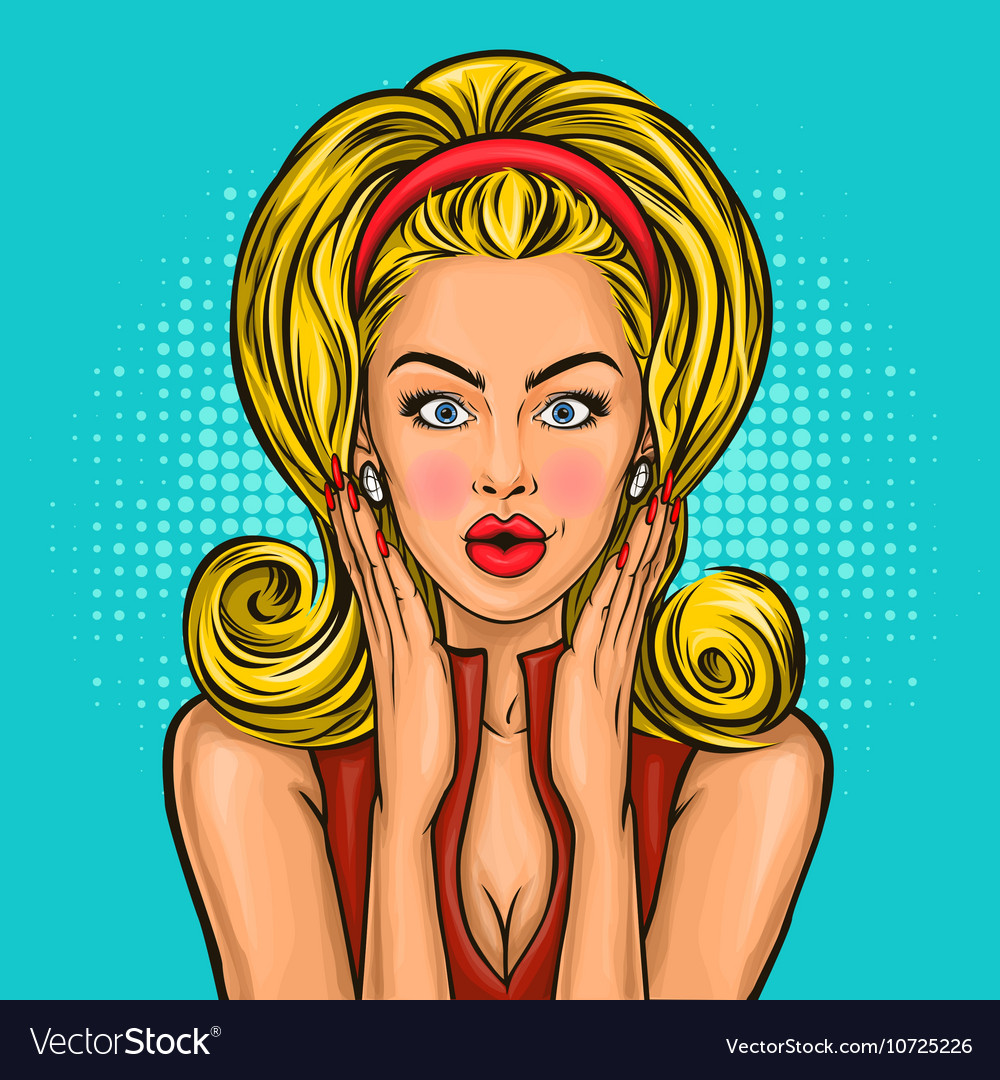 Pop art surprised girl vector