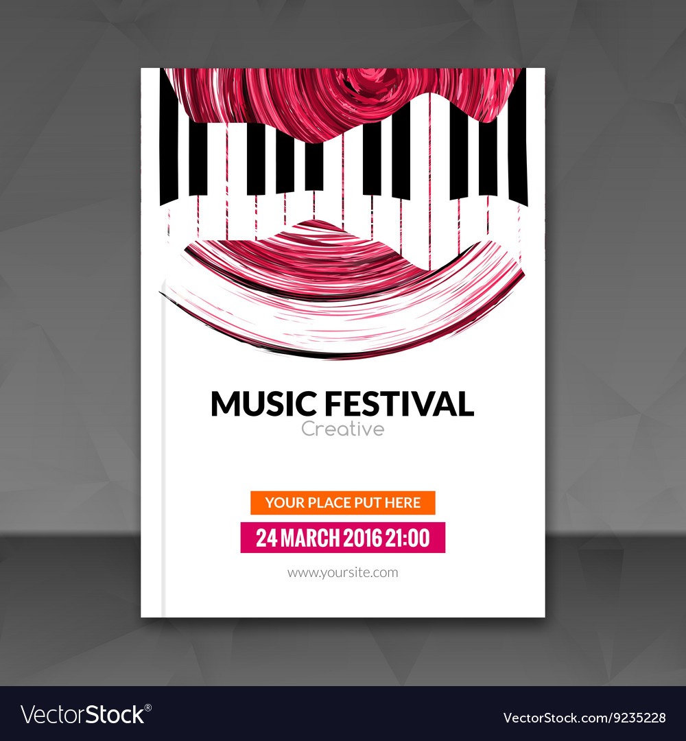 Music festival poster background flyer template vector