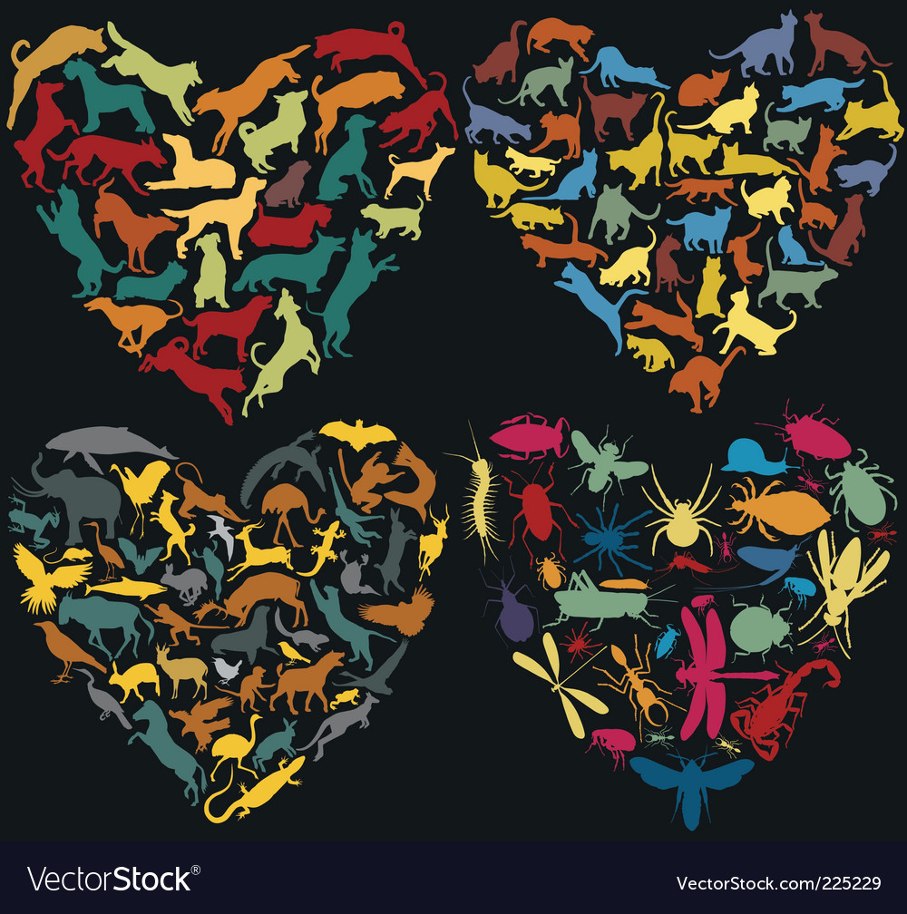 Animal hearts vector