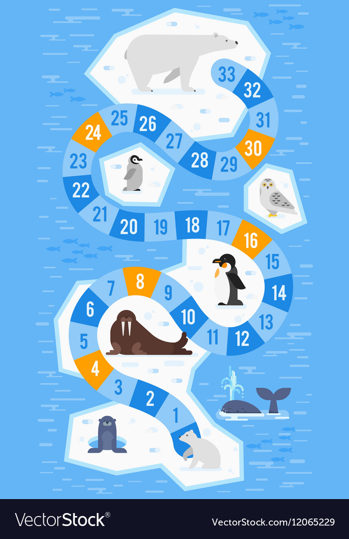 Flat style of kids arctic animals board game vector