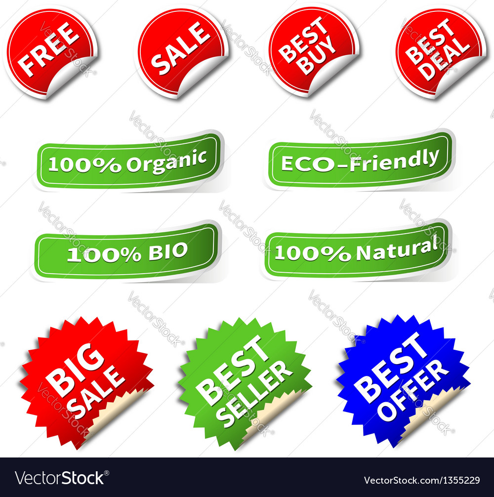 Set of various shape label and sticker vector