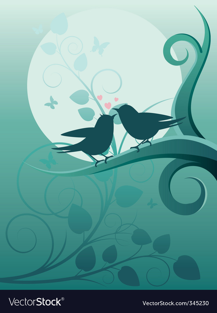 Birds in the garden vector