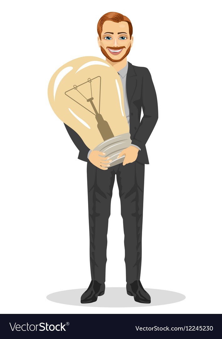 Businessman holding big light bulb vector