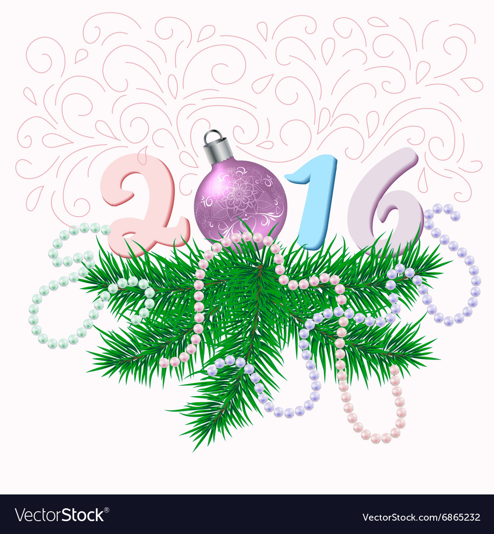 Christmas card with fir branches and ball vector