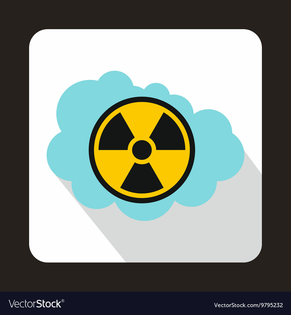 Cloud and radioactive sign icon flat style vector