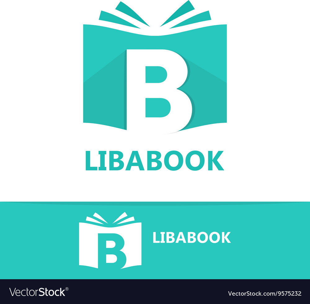 Logo combination of a book and letter b vector