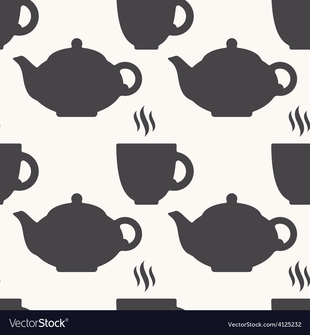 Silhouette of teapot and tea cup seamless pattern vector