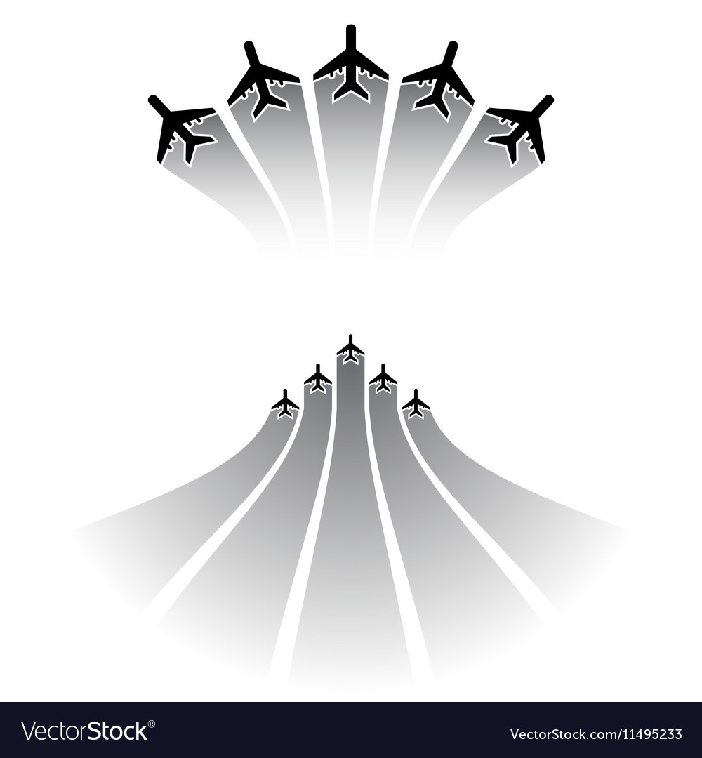 Airplane silhouettes sets vector