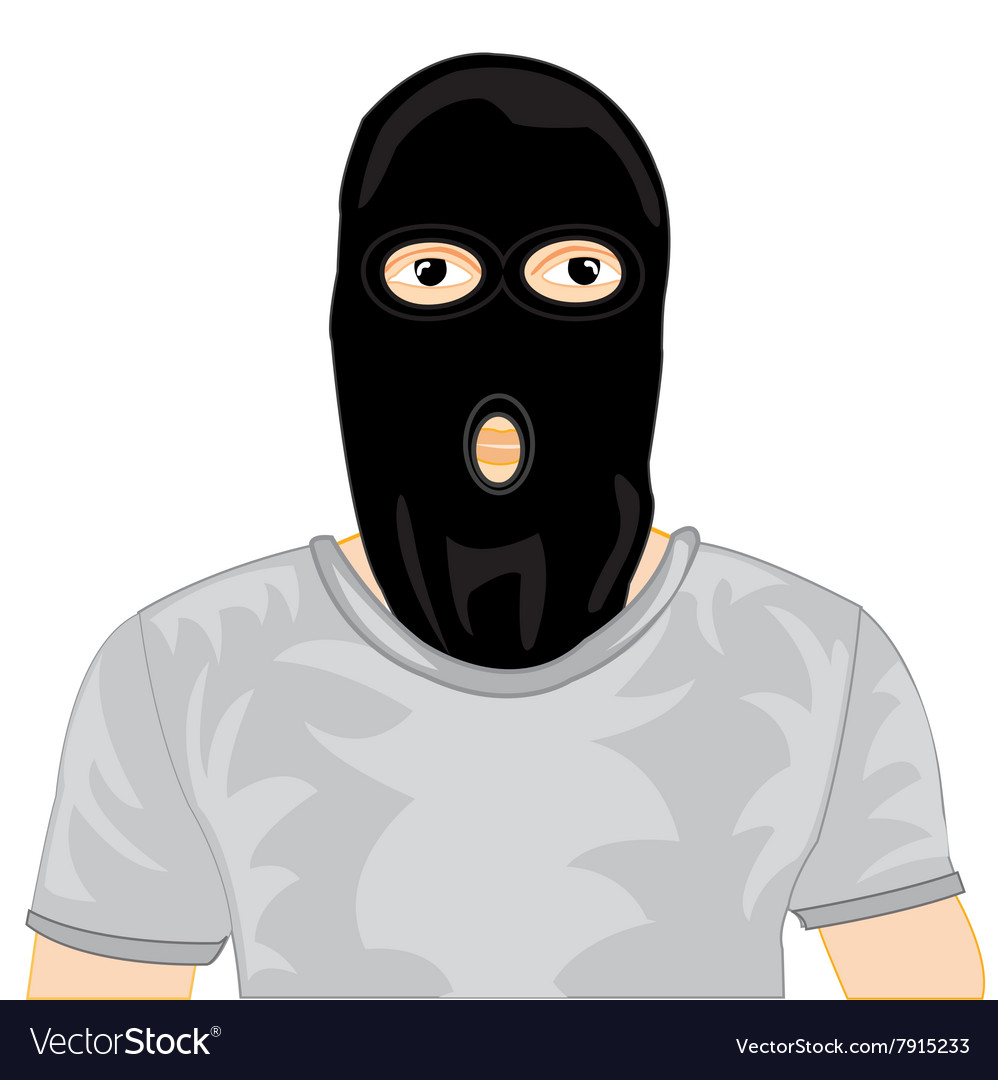 Persons in black mask vector