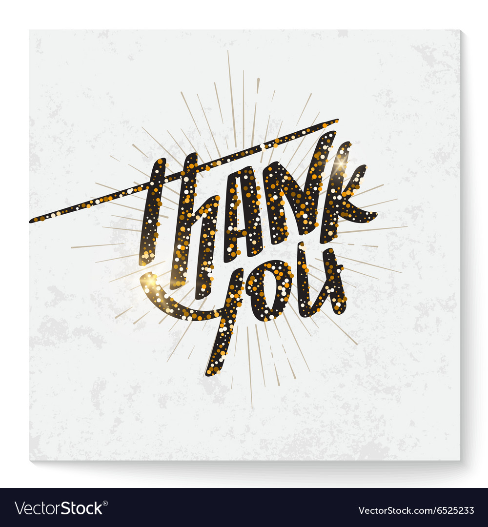 Thank you card with modern glitter lettering vector