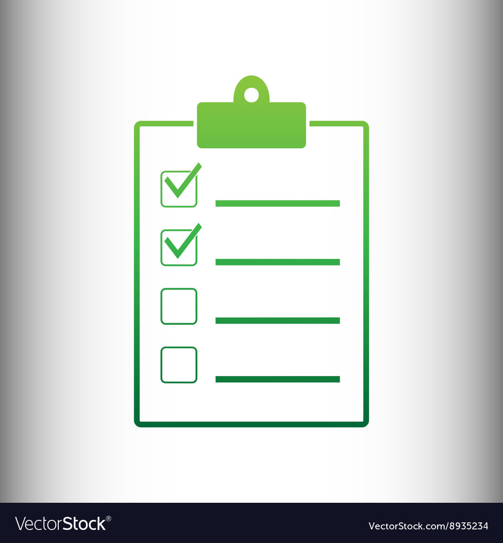Checklist sign green gradient icon vector
