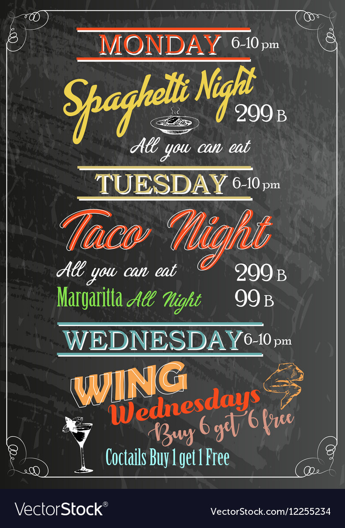 Restaurant food menu design with chalkboard vector
