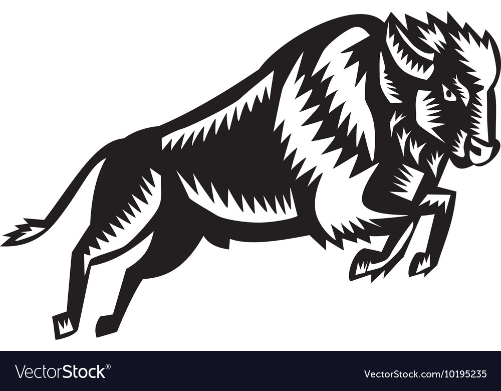 American bison buffalo jumping woodcut vector
