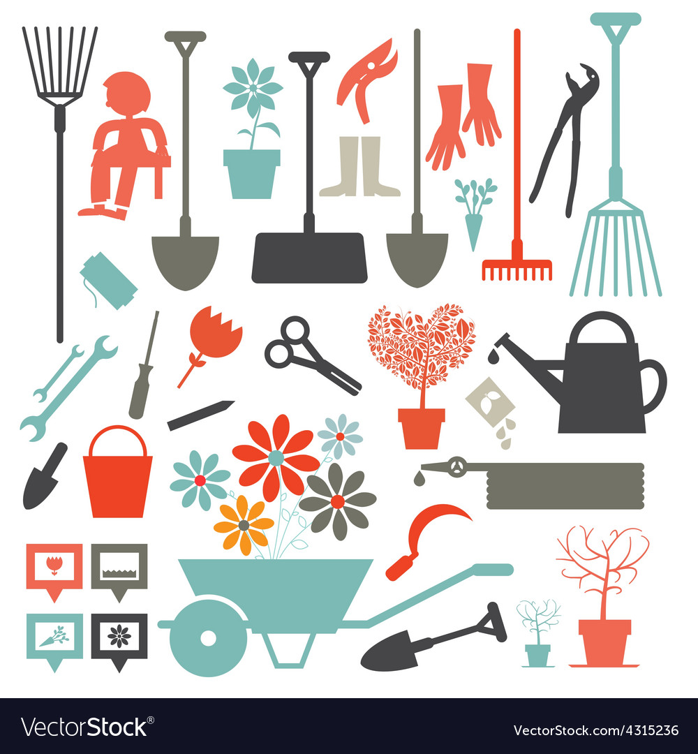 Gardening icons  tools set isolated on white vector