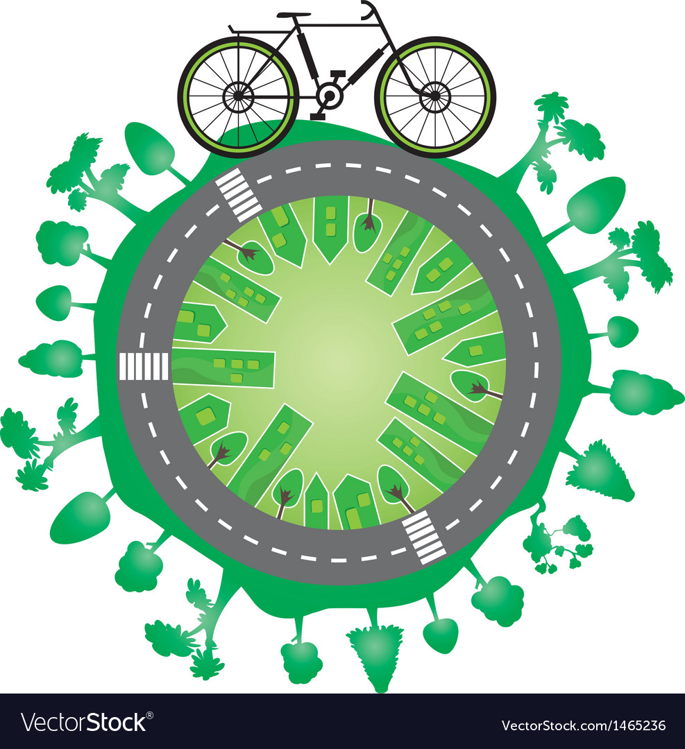 Green world and bike vector