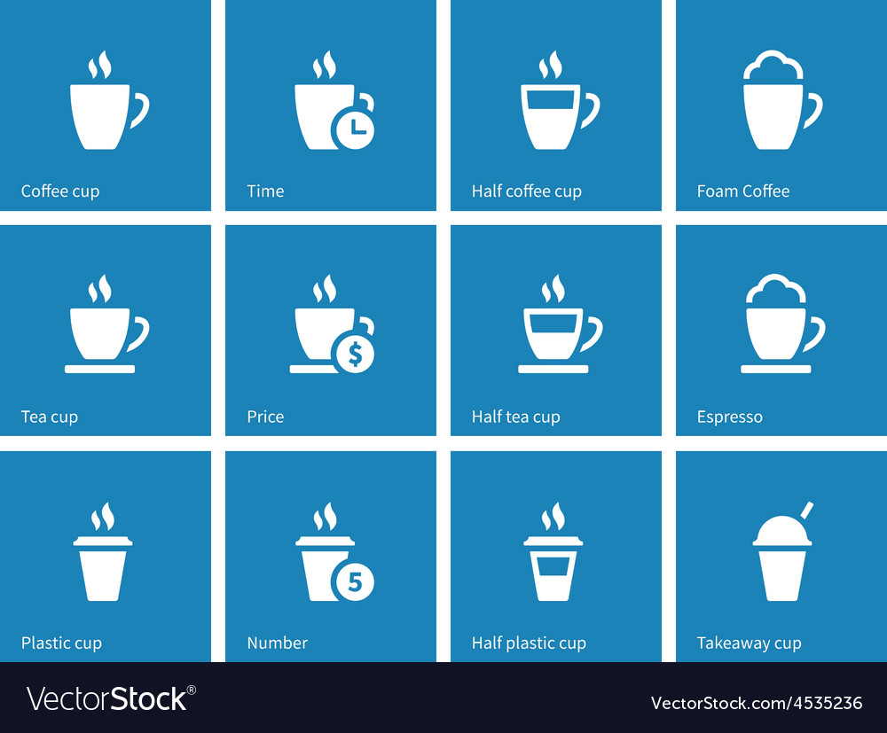 Tea mug icons on blue background vector
