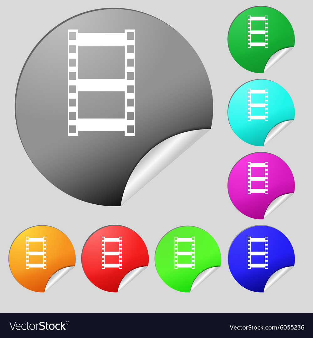 Video sign icon frame symbol set of eight multi vector