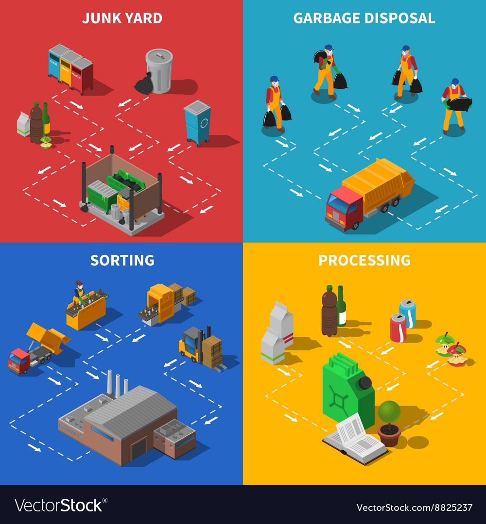 Garbage recycling isometric concept icons set vector