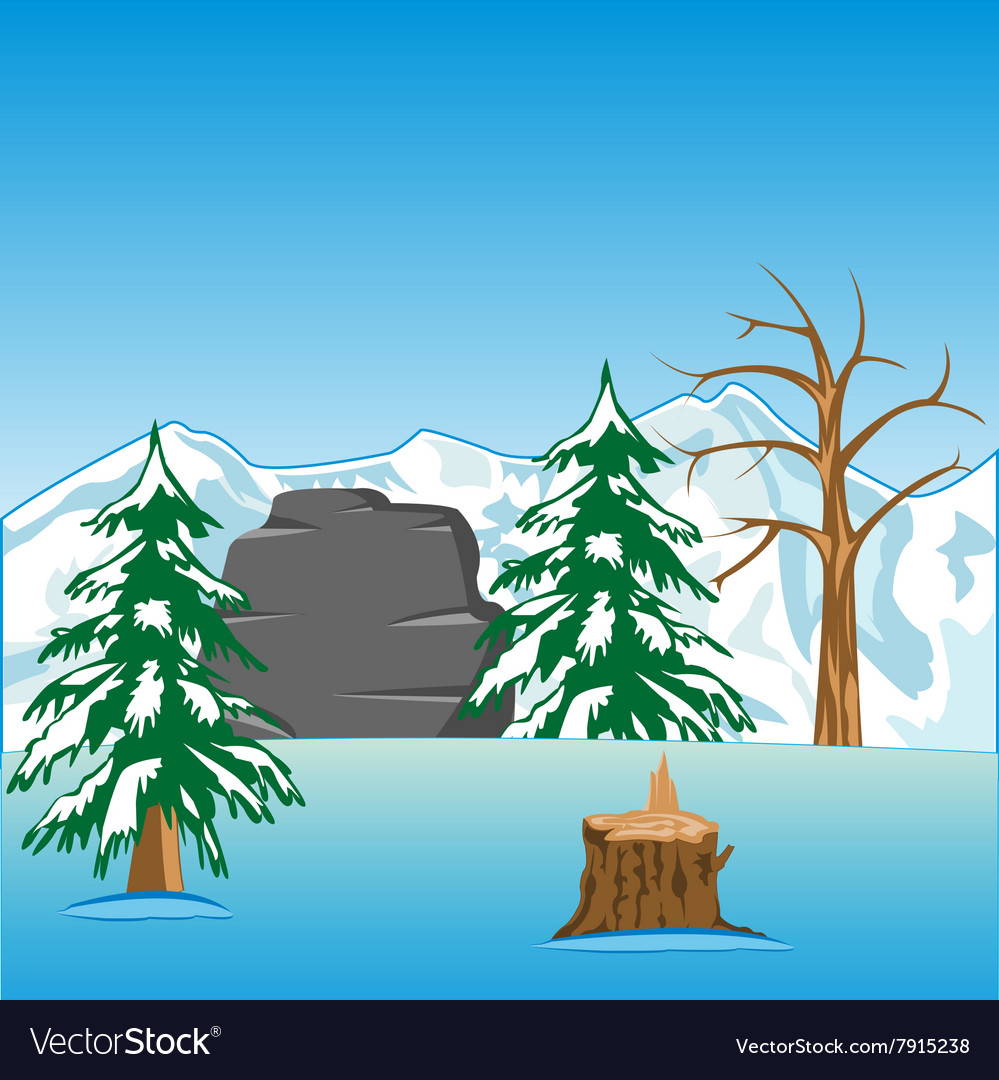 Deserted winter landscape vector
