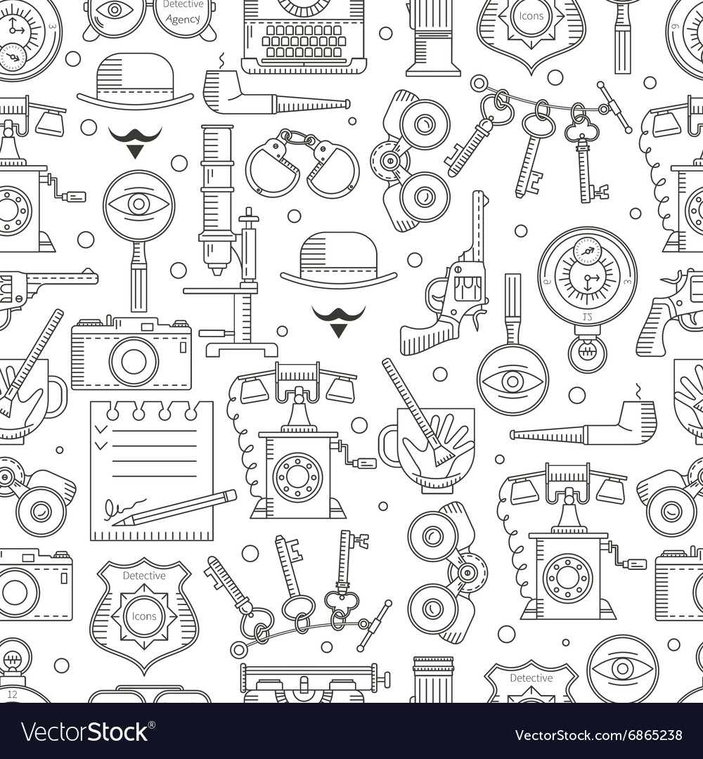 Seamless pattern detective icons vector