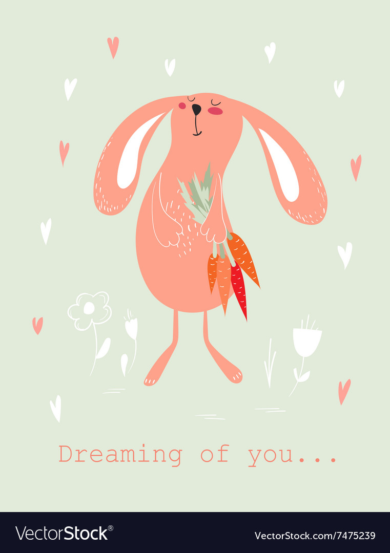 Bunny with carrots card vector