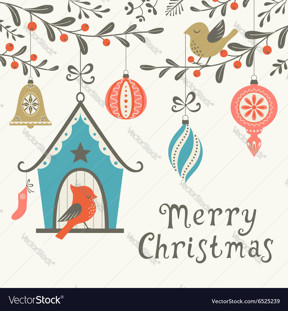 Christmas birds greeting card vector