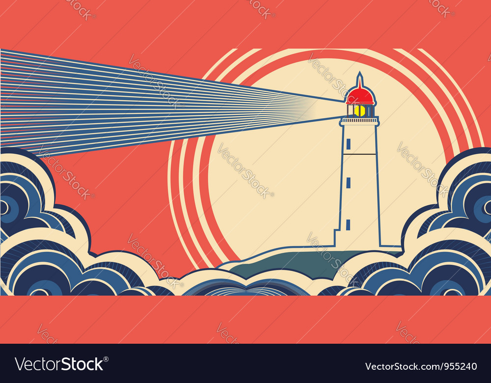 Seascape with lighthouse vector