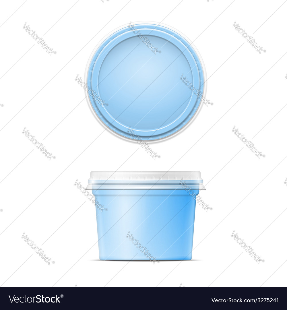 Blue plastic spread container template vector